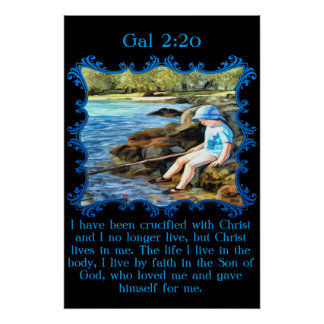 Gal 2:20 Baby boy fishing in the river. Poster