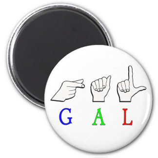 GAL FINGERSPELLED NAME SIGN 2 INCH ROUND MAGNET