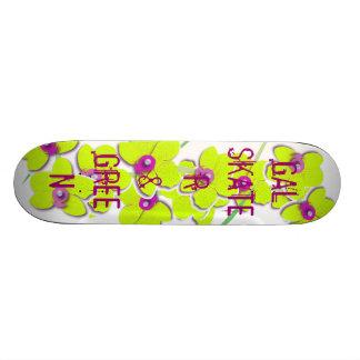 gal, skater and green skateboard decks