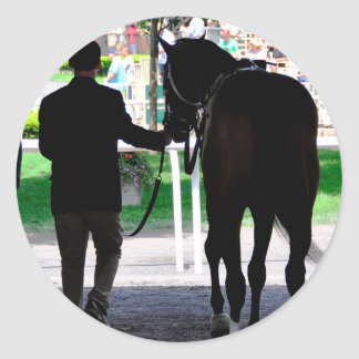 """""""Gala Award"""" in the Paddock at Belmont Park Classic Round Sticker"""