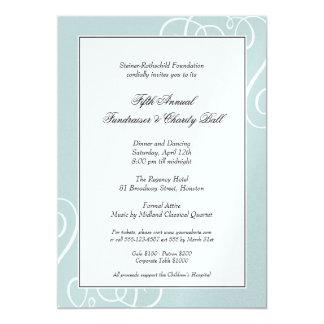 """Gala encantada marco azul de plata del remolino invitación 5"""" x 7"""""""