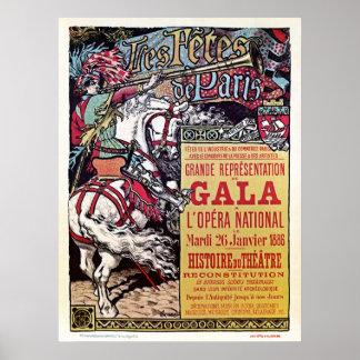 Gala medieval del vintage del estilo de la ópera n posters