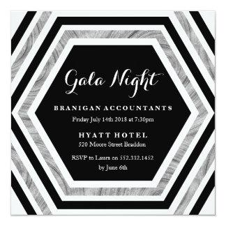 Gala Night - Work Function - Silver Hexagon Event Card