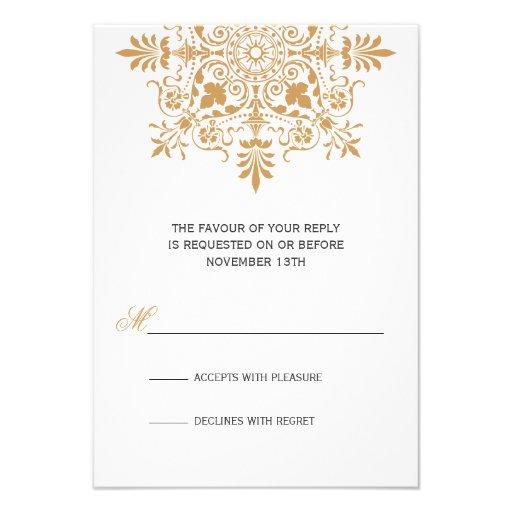 Gala ornamental ambarina barroca RSVP del día de f Invitación Personalizada