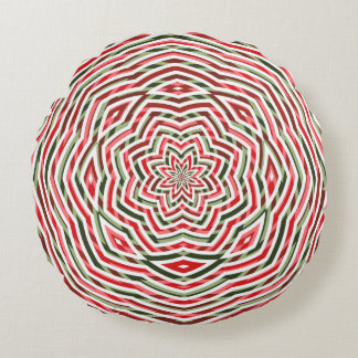 """Gala Pattern""10: Red/Grn/Whi ChvrnZigs Rnd Pillow Round Pillow"