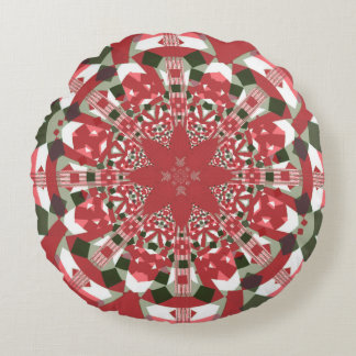 """Gala Pattern""1: Red Snowflake, Grn/Whi Rnd Pillow Round Pillow"