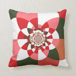 """Gala Pattern""2: Red/Grn/Whi Kaleidocope Sq Pillow"