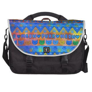 GALACTIC CAT TRIBAL Crazy Cat Lady Aztec Pattern Laptop Bag