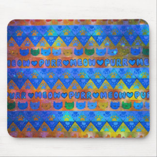GALACTIC CAT TRIBAL Crazy Cat Lady Aztec Pattern Mouse Pad