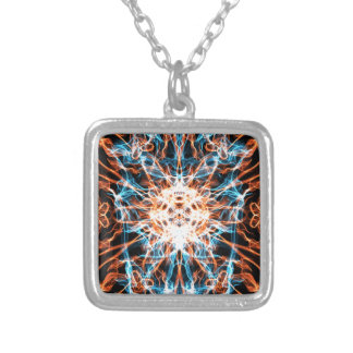 GALACTIC EMERALD FIRE STORM DIGITAL ART BACKGROUND PERSONALIZED NECKLACE