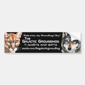 Galactic Groundhog Panther & Wolf Bumper Sticker Car Bumper Sticker