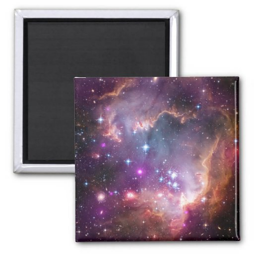Galactic Outer Space Purple 2 Inch Square Magnet