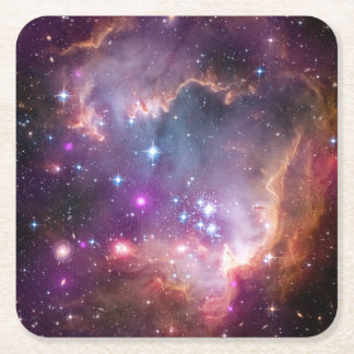 Galactic Outer Space Purple Nebulae Square Paper Coaster