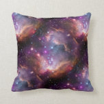 Galactic Outer Space Purple Throw Pillow