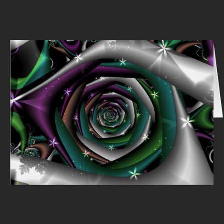 Galactic Rose Fractal Card