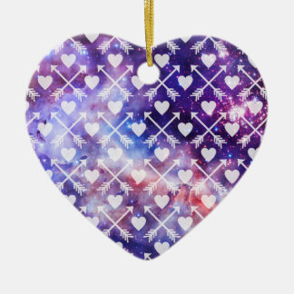 Galactic Tribal Hearts and Arrows Ceramic Ornament