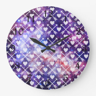 Galactic Tribal Hearts and Arrows Large Clock