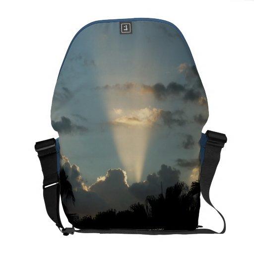 Galactic Vortex Blue Sky Rickshaw Messenger Bag