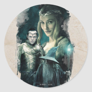 Galadriel, ELROND™, & Gandalf Graphic Classic Round Sticker