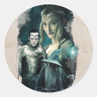Galadriel, Elrond, & Gandalf Graphic Round Stickers