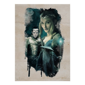 Galadriel, Elrond, y gráfico de Gandalf Poster