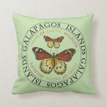 Galapagos Islands Butterfly Throw Pillow