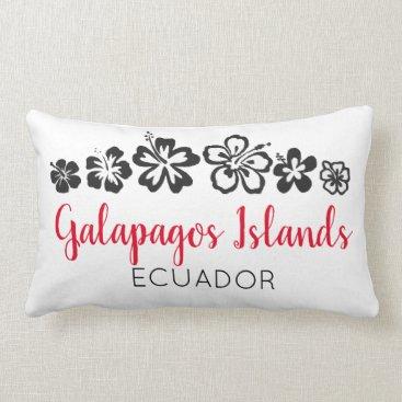 Galapagos Islands Ecuador Souvenir Red Typography Lumbar Pillow