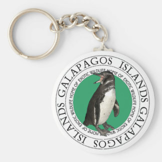 Galapagos Islands Penguin Basic Round Button Keychain