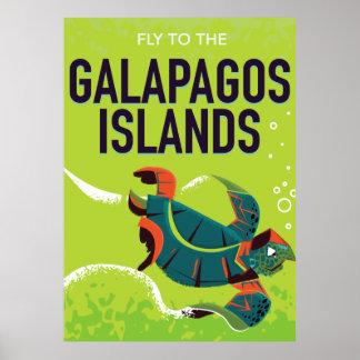 Galapagos Islands vintage travel poster art.