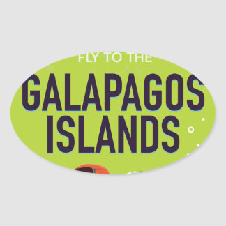 Galapagos Islands vintage travel poster art. Oval Sticker