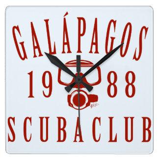 Galapagos Scuba Club Square Wall Clock