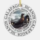 GALAPAGOS SEALS ROUND CERAMIC ORNAMENT