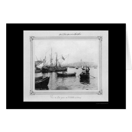Galata From Sirkeci Port in Istanbul, Turkey 1885 Greeting Card