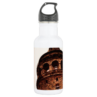 Galata Tower In Istanbul Hand drawing 18oz Water Bottle