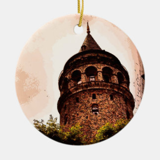 Galata Tower In Istanbul Hand drawing Double-Sided Ceramic Round Christmas Ornament