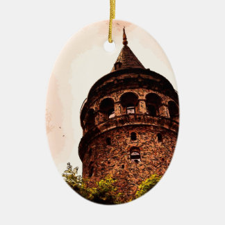 Galata Tower In Istanbul Hand drawing Double-Sided Oval Ceramic Christmas Ornament