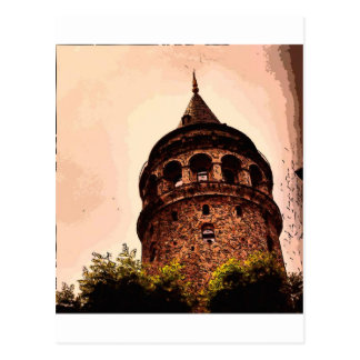 Galata Tower In Istanbul Hand drawing Postcard