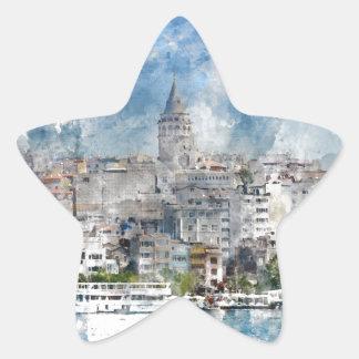 Galata Tower in Istanbul Turkey Star Sticker