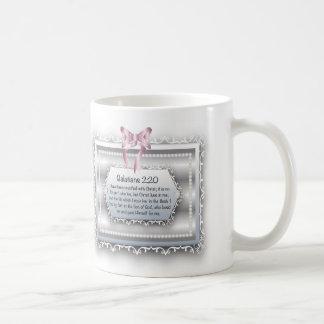 Galatians 2:20 Bible Inspiration Quote Pearls Bow Coffee Mug