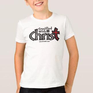 Galatians 2:20 on white tee shirt.