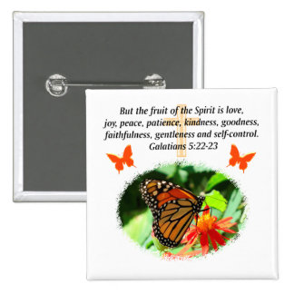 GALATIANS 5 BUTTERFLY PHOTO DESIGN 2 INCH SQUARE BUTTON