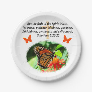 GALATIANS 5 BUTTERFLY PHOTO DESIGN PAPER PLATE