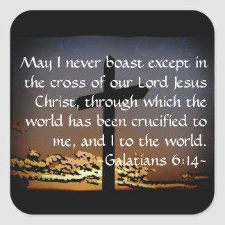 Galatians 6:14 square sticker