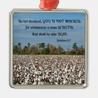 Galations 6:7 Be not deceived, God is not mocked.. Metal Ornament