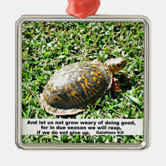 Galations 6:9 And let us not be weary in well... Metal Ornament