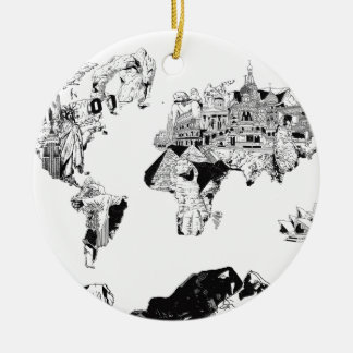 galaxia 3 blancos y negros del mapa del mundo adorno navideño redondo de cerámica