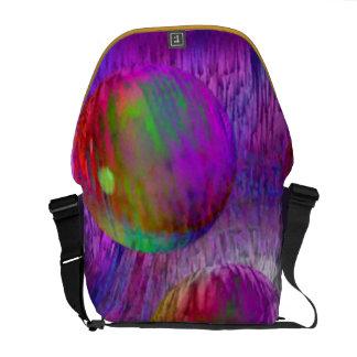 Galaxia abstracta de la púrpura del verde del frac bolsa de mensajería