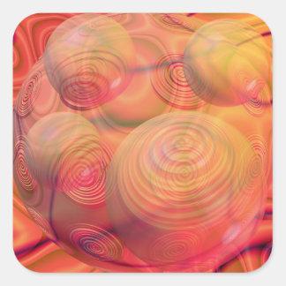 Galaxia ambarina anaranjada abstracta del fractal pegatina cuadrada