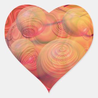 Galaxia ambarina anaranjada abstracta del fractal pegatina en forma de corazón