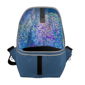 Galaxia azul ciánica del fractal abstracto externo bolsa messenger